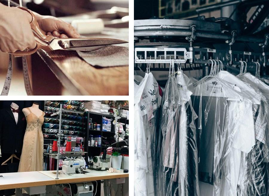 skräddare som klipper tyg, bild på kemtvättade kläder och finkläder på vår kemtvätt